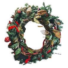 "Vintage Large 27"" Wreath Art Christmas Holiday Door Ornament Handmade Fruit Snow Effect"