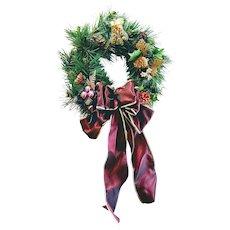 "Vintage 14"" Wreath Art Christmas Holiday Door Ornament Handmade Purple Bow"
