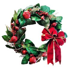 "Large 24"" Vintage Christmas Wreath Handmade Pomegranates Magnolia Leaves Restoration Hardware"