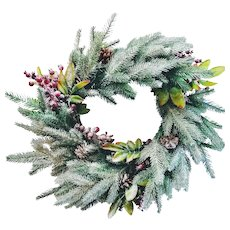 "Large 22"" Vintage Christmas Wreath Handmade Cranberry Pine in Snow Design"