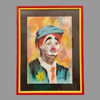 Original Portrait of a Sad Clown Pastel on Paper Framed