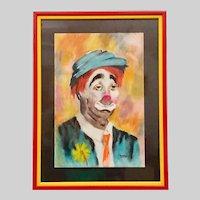 Original Portrait of a Sad Clown Pastel on Paper Framed