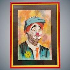 Original Portrait of a Sad Clown Pastel on Paper Signed Laraine Framed