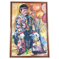 Original Large Portrait of a Clown Oil on Canvas by Buchanan
