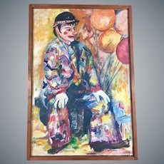 Original Large Portrait of a Clown Oil on Canvas by Buchanan
