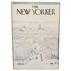 Vintage 1976 Poster The New Yorker View of the World Illustration by Saul Steinberg Framed
