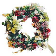 Large Vintage Holiday Wreath Art With Winter Flowers