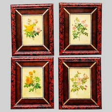 Set of 4 Maitland-Smith Botanical Engravings Framed and Matted in Leather