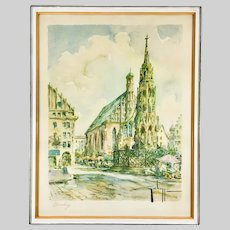 Vintage Aquatint of Nurnberg City Scene by French Artist Georges Chappuis