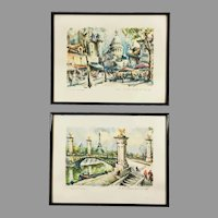 Pair of Mid Century Aquatint Prints Paris Scenes after Marius Girard Paintings