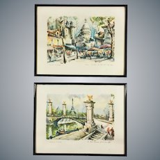Pair of Mid Century Aquatint Prints Paris Scenes after Marius Girard Paintings