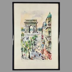 Mid Century Aquatint Print Paris Champs-Elysees after Marius Girard Painting