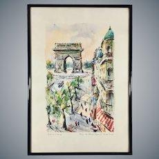 Mid Century Aquatint Print Paris Champs-Elysees after Marius Girard Painting