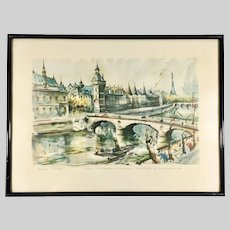 Mid Century Aquatint Print Paris St. Chapelle after Marius Girard Painting