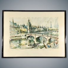 Mid Century Aquatint Print Paris St. Chapelle after Marius Girard Painting