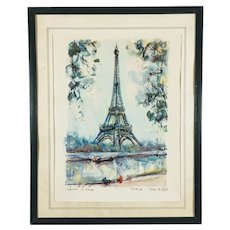 Mid Century Aquatint Print Eiffel Tower Paris after Marius Girard Painting