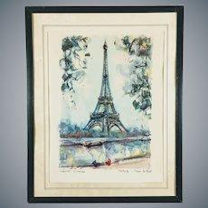 Mid Century Aquatint Print Eiffel Tower Paris after Marius Girard Painting