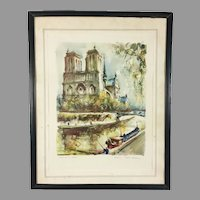 Mid Century Aquatint Print Notre-Dame Paris after Marius Girard Painting