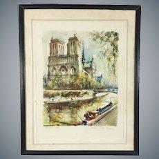 Mid Century Aquatint Print Notre-Dame Paris after Marius Girard Painting