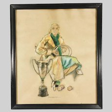 English Female Tennis Player Pastel Drawing Early 20th Century