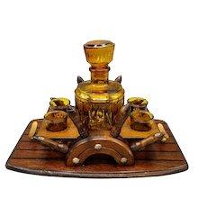 Mid Century Amber Glass Whiskey Liquor Cognac Bar Set