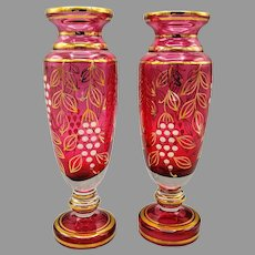Pair of Bohemian Cranberry Glass Vases Hand Painted with Gold Ornament