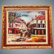 City Square Scene Oil on Canvas by Mary Botto (1913-2002)