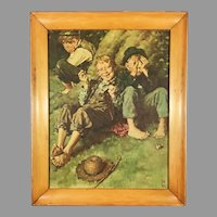 Norman Rockwell Tom Sawyer Heritage Press Folio Print Framed