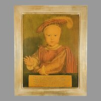 Vintage Print of Edward VI as a Child Painting Portrait by Hans Holbein Framed
