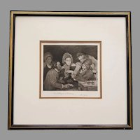 1881 George Barrie Steel Engraving of Robert Wylie's Painting Card Players in Brittany
