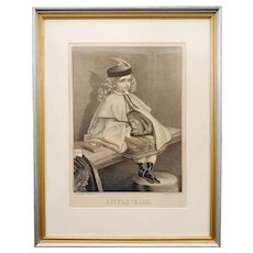19th Century Currier & Ives Lithograph Little Ella