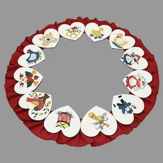 Vintage Christmas Holiday Wreath Folk Art 12 Hand Painted Hearts