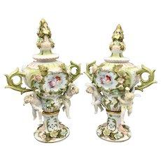 Pair of Antique Voigt Brothers Sitzendorf Porcelain Potpourri Urns