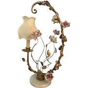 Italian Gilded Tole Table Lamp with Pink Porcelain Roses