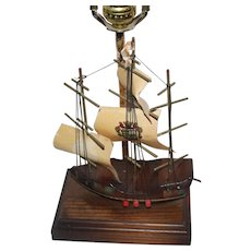 Wooden Sailing Ship Desk or Table Lamp