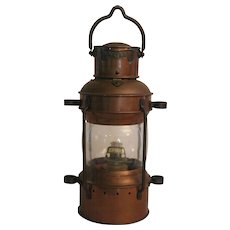 Vintage Maritime Wedge Anchor Lantern -- Copper and Brass