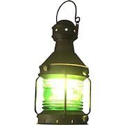 Nautical Brass Starboard (Green Glass) Lantern Converted to Operate on Electricity