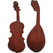 Pair Cast Iron Musical Instrument Wall Hangings - Violin and Mandolin