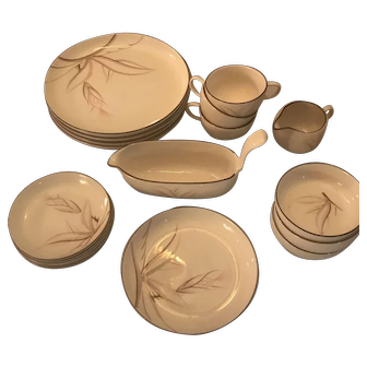 Winfield Dragon Flower China - Lot of Mixed Pieces all in Excellent Condition - 17 Pieces - Dinner Plates, Saucers, Cups, Fruit Bowls, Gravy Boat, Creamer, Salad Plate