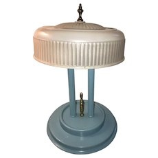 Original Refinished Art Deco 2-Bulb Table or Desk Lamp with Pressed Glass Art Deco Age Appropriate Glass Shade