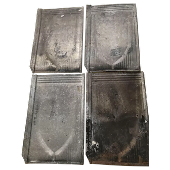 Tin Shingles - Architectural - Decorative Galvanized Tin Shingle Tiles -- Sold in Lots of 10 -- Each is 14 Inches by 9 5/16 inches -- Circa 1920's -- Architectural Decor -- Back Splash, Tub or Sink Surround, for Craft Projects, Wall Decor