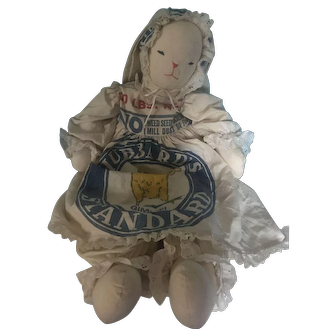 Advertising Hubbard's Feed Sack - Large Rabbit Dressed in Hubbard's Feed Sack -- Stuffed Plush -- Vintage Feed Sack -- Logo with Baby Chick Inside Says Gimme