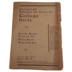 Antique (1901) Penryhn Stanlaws (Saturday Evening Post) Sketches -- College Girls