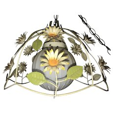 Vintage Italian Tole Floral Cage Pendant Light