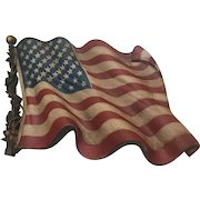 USA Flag -- Vintage Molded Resin Wall Hanging by Burwood Industries
