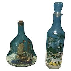 Pair of Vintage Collectible Whisky Bottles