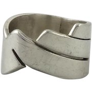 Geometric Sterling Silver Wide Band Ring
