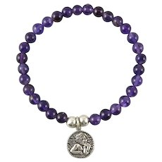 Amethyst Bracelet with Sterling Silver Angel Charm