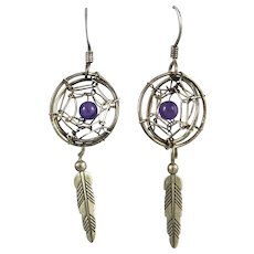 Dream Catcher Amethyst and Sterling Silver Earrings