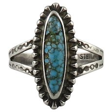 Southwestern Silver and Turquoise Engraved Pattern Ring